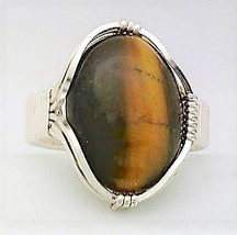 Tiger-eye Silver Wire Wrap Gemstone Ring 11 - $10.31