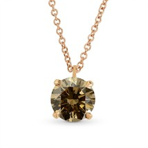 1.14Cts Champagne Diamond Solitaire Pendant Necklace Set in 18K  Rose Go... - $2,940.30