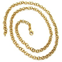 18K YELLOW GOLD CHAIN 15.75 IN, ROUND CIRCLE ROLO LINK DIAMETER 4 MM MADE ITALY image 1