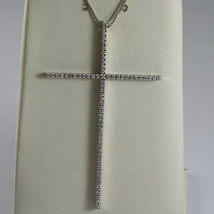 SOLID 18K WHITE GOLD NECKLACE WITH BIG CROSS, DIAMONDS, DIAMOND MADE IN ITALY image 1
