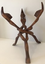 Vintage Hand Carved Wood Sculpture 3 Tribesmen Intertwined Africa Folkart - $42.08