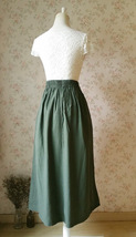 ARMY GREEN Boho Skirt Loose Long Linen Wrap Skirt Army Green Linen Skirt Outfit  image 4