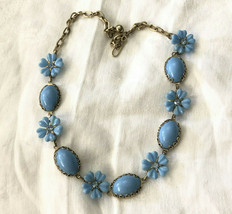 Vintage Blue Plastic Flower And Rhinestone Fashion Necklace Gold Tone Chain - $28.00