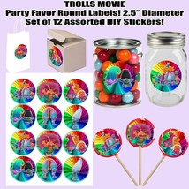 Trolls Movie Poppy Branch Round Stickers Party Favors Supplies Decoratio... - $13.37
