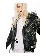 Black Genuine Leather Silver Long Punk Spike Heavy Metal Stud Work Women... - $421.39