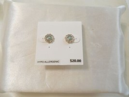 "Department Store 3/8""Gold Tone Sim.Diamond Green Enameled Stud Earrings ... - $9.59"