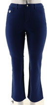 Quacker Factory Pockets Knit Denim Boot Cut Pants Navy 2 NEW A210141 - $35.62