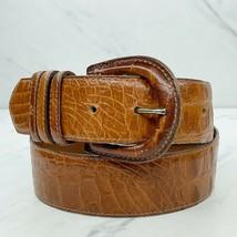 Cipriani Brown Vintage Italian Alligator Calfskin Leather Belt Size Medi... - $24.18