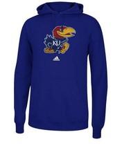Mens Blue Adidas University Kansas Jayhawks Logo Pullover Hoodie Sweatshirt - $38.99