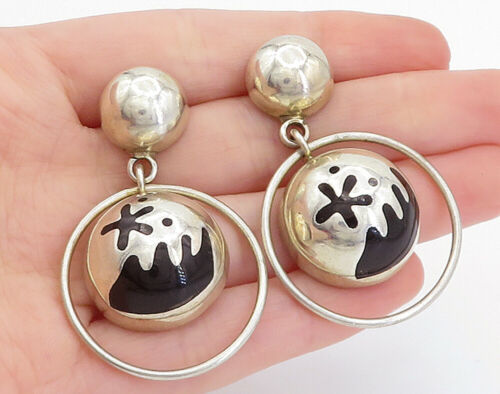 Primary image for MEXICO 925 Silver - Vintage Black Onyx Patterned Dome Dangle Earrings - E9310