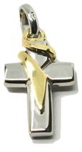 Pendentif Croix en or Jaune et Blanc 18K 750 Bicolore Crucifix Made IN I... - $224.83