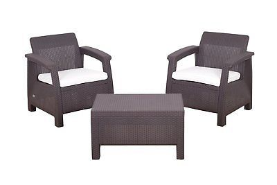 Rattan Garden Balcony Set Arm Chairs Coffee Table Patio Conservatory 3pcs Brown