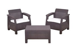 Rattan Garden Balcony Set Arm Chairs Coffee Table Patio Conservatory 3pcs Brown image 1