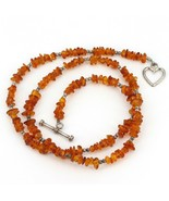 "17.5"" Single Strand Sterling Silver Baltic Amber Beaded Necklace 4.5mm Wide - $16.99"