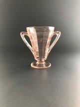 Vintage Pink Depression Glass Hocking Block Optic Sugar Bowl, Footed wit... - $18.50