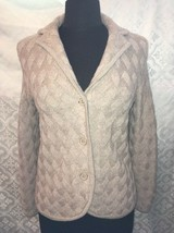 Talbots Petites Wool Womens S Small Cardigan Sweater Brown PS Woven Print - $36.58