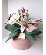 Vintage Purple Thumb Plants Handcrafted Fabric Faux Stargazer Lily Flowe... - $98.99