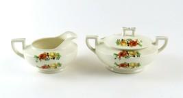 Homer Laughlin Creamer & Sugar Bowl w/Lid, Orange Yellow Flowers, F42N8 ... - $29.69