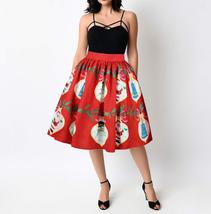 RED Christmas Print  A-line Swing Skirt Women High Waist Knee Length Flare Skirt image 2
