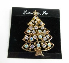 Eisenberg Ice Brooch Pin Signed Christmas Tree Swarovski Crystals 9262 - $49.50