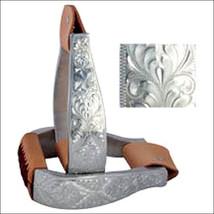 Hilason Western Tack Leather Aluminium Horse Saddle Stirrups Hand Engraved Trim - $63.95