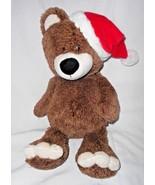 2015 Animal Adventure Bear Christmas Santa Hat Plush Stuffed Animal Brown - $15.80