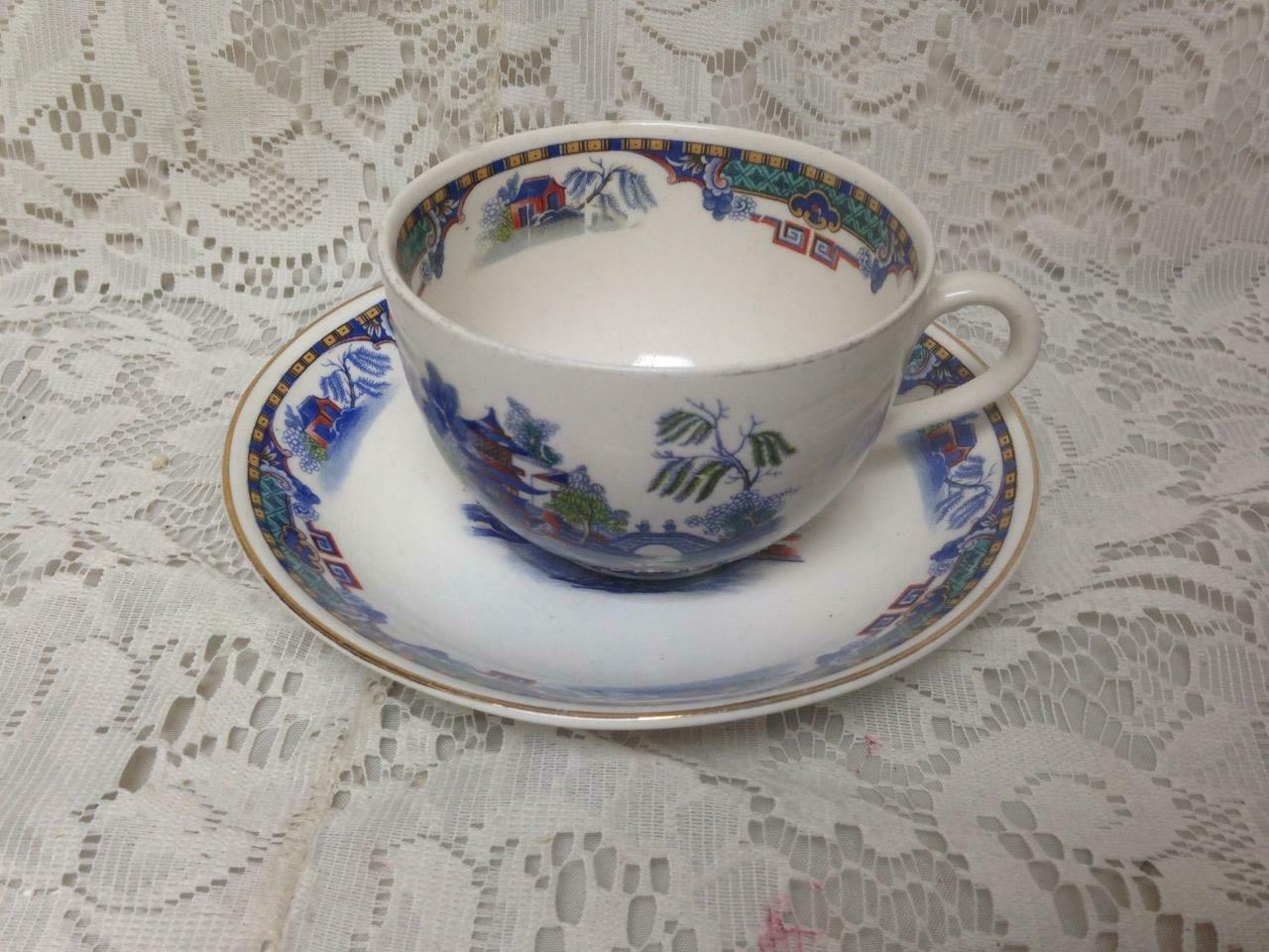 Primary image for Vintage, England, Parrot Pattern, Variant, Gaudy Blue Willow Cup and Saucer (b)