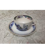Vintage, England, Parrot Pattern, Variant, Gaudy Blue Willow Cup and Sau... - $28.45
