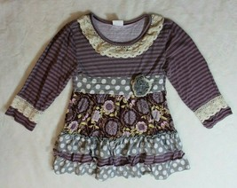Boutique Girls Tunic Top Sz XXL 7 8 Purple Stripes Dots Floral Ruffle Sp... - $19.79