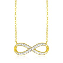 14k Yellow Gold Infinity Chain Necklace with Diamonds - $492.53