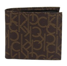 Calvin Klein Ck Men's Classic Leather Coin Case Id Wallet Brown 79463