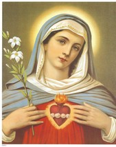 """Catholic Print Picture IMMACULATE HEART of MARY 8x10"""" ready to be framed - $14.01"""
