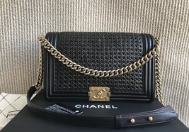 AUTH CHANEL BOY NEW MEDIUM BLACK BRAIDED LIMITED EDITION LEATHER FLAP BAG  image 1