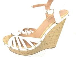 Shoedazzle Adrianne Womens 10 White Platform Open Toe Wedge Heel Shoe - $16.79