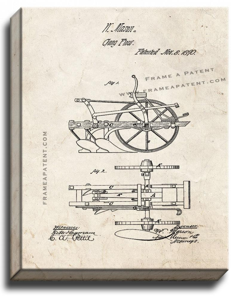 Primary image for Gang Plows Patent Print Old Look on Canvas