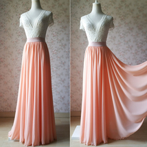 Coral Chiffon High Waist Full Maxi Skirt Coral Wedding Bridesmaid Chiffon Skirts