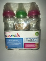 Munchkin Mighty Grip BPA-Free Glass Bottles set of 3-Pack, 8 oz 2 pink 1 green - $10.59