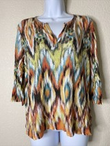 Chico's Womens Size 2 Geometric Striped Blouse 3/4 Sleeve - $18.81
