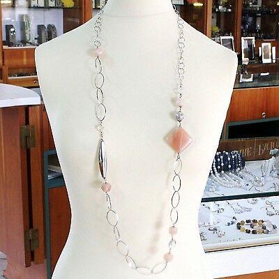 Halskette Silber 925, Jade Brown, Länge 105 cm, Kette Oval und Rolo