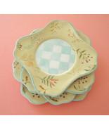 Capriware Checkerboard Floral Gold & Aqua Trim Square China Salad/Desser... - $20.00