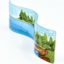 Fused Art Glass Lake River Canoe Lakefront Wavy Sun Catcher Handmade in Ecuador image 2