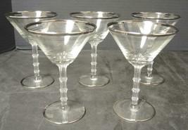 Five Elegant Glass Era Platinum Trim Martini Glasses - $28.49