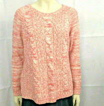 Sonoma Life + Style Womens Sz Large Sweater Cable Knit Crew Pullover Pink White - $19.34