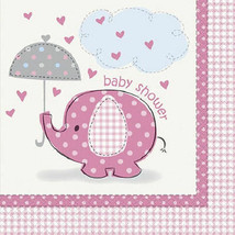 Umbrella Elephant Pink Girl Baby Shower Party 16 Lunch Napkins - $2.84