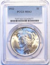 1922 PCGS Peace Silver Dollar. MS63. MG19. - $64.00
