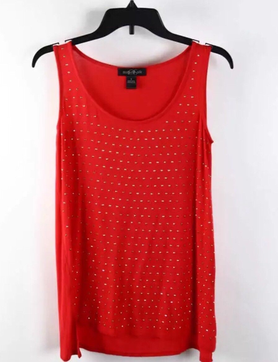 August Silk Scarlet Red Gold Studded Sleeveless Casual Tank Top Size S