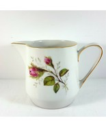 "Hutschenreuther Moss Rose Creamer 3-1/8"" White Pink Roses - $11.88"