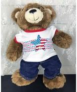 "Build-A-Bear Workshops Plush Teddy Bear 15"" Jeans Patriotic T-Shirt Bearemy - $17.65"