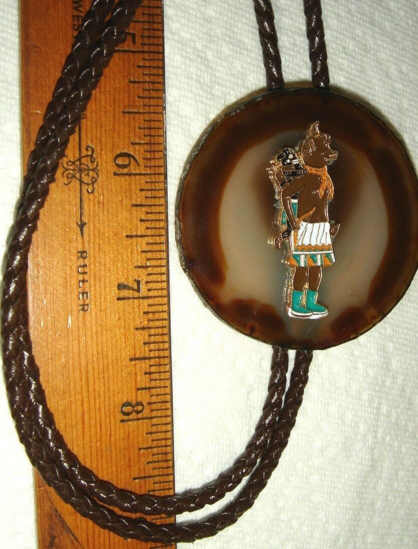 VTG T COWGIRL COWBOY TOOLED LEATHER KACHINA WARRIOR GEODE BOLO TIE NECKLACE LOT