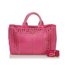 Pre-Loved Prada Pink Canvas Fabric Canapa Satchel Italy - $530.64